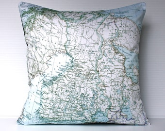 Vintage map print pillow , decorative cushion FINLAND map organic cotton, pillow 16x16