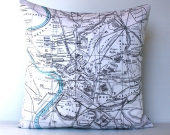 Cushion cover pillow ROME map pillow organic cotton pillow cushion, throw pillow, 16inch cushion cover
