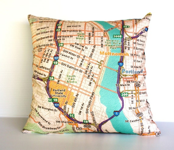 city map / cushion cover/  map cushion/ PORTLAND map pillow/ Organic cotton pillow cover/ throw cushion /16x16inch/ 40cmx40cm