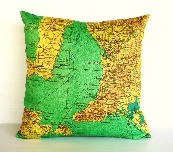 Cushion cover ADELAIDE Organic cotton Adelaide, South Australia, map cushion, map pillow, cushion cover, 16 inch, 41cm