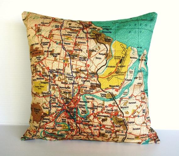 Decorative pillow cover, city maps BRISBANE Organic cotton map cushion cover, cushion cover, throw pillow 16x16