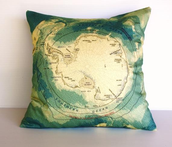 Map print cushion /throw pillow / map pillow , ANTARCTICA  pillow, cushion, 16 inch cushion cover, 40cm pillow
