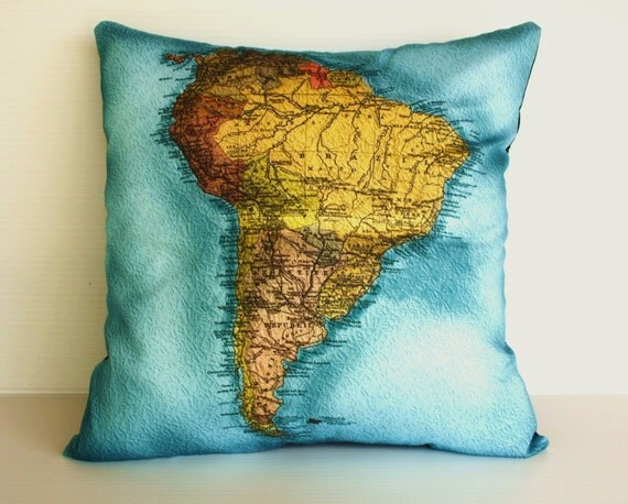 Map pillow cover, decorative pillow,   SOUTH AMERICA, Organic cotton, 16x16 inch pillow, 40cm cushion