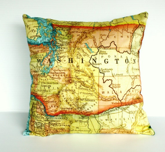 Decorative Throw pillow map pillow cover, cushion WASHINGTON STATE pillow cover,organic cotton map cushion cover, 16 inch 41cm