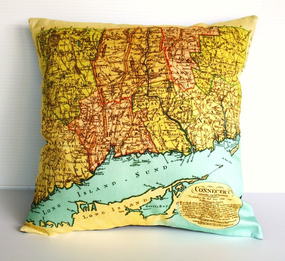 Vintage Map pillow/  Connecticut map/  Cushion cover/ vintage maps/ map home decor /maps / cartography/ gifts for dads / gifts for men