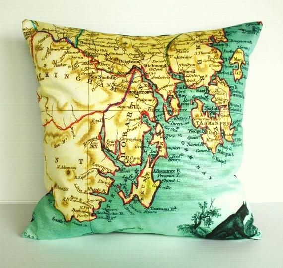 map cushion cushion cover 16 inch cushion, map pillow, 40cm cushion HOBART TASMANIA map cushion, cushion,16 inch , 41cm