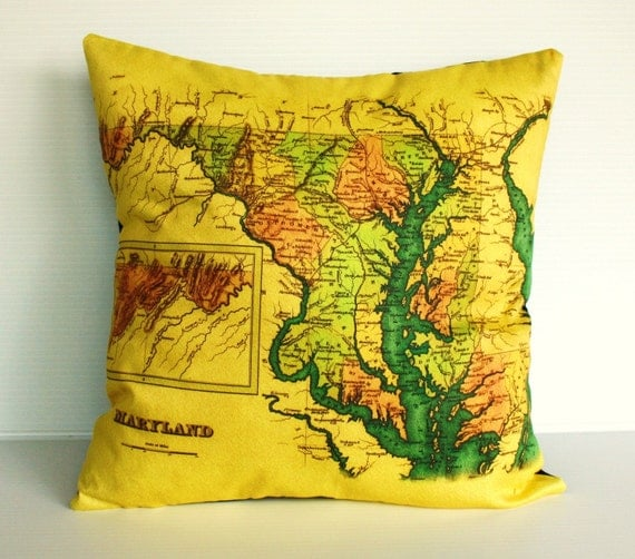 map cushion, MARYLAND map organic cotton cushion decorative pillow  cover pillow cover 16 inch 40cmx40cm