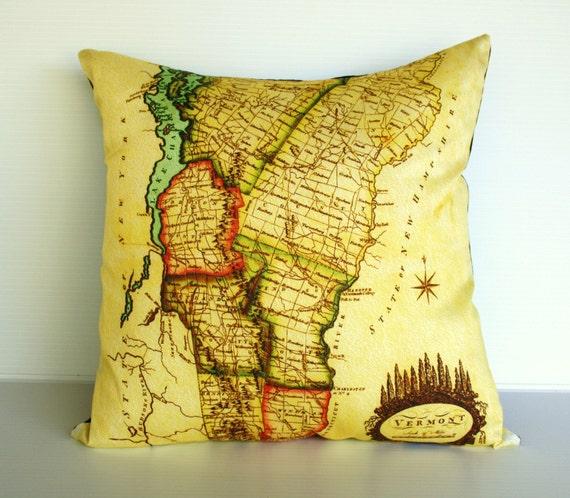 Map print pillow cushion / Organic cotton map/  VERMONT map pillow cover, 16x16 cushion