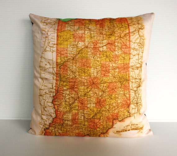 cushion, pillow INDIANA state organic cotton map cushion cover, 16 inch 41 cms pillow 16x16