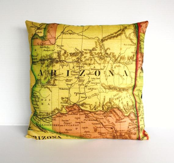 decorative throw pillow ARIZONA organic cotton vintage map cushion, cushion cover throw cushion,16 inch pillow