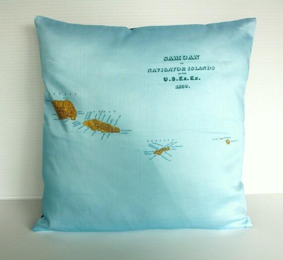 16x16 cushion cover pillow SAMOA organic cotton cushion, map cushion, pillow, 16 inch pillow cover