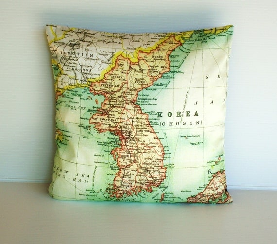 map pillow KOREA map organic cotton map cushion 16 inch cushion cover, organic cotton, vintage map