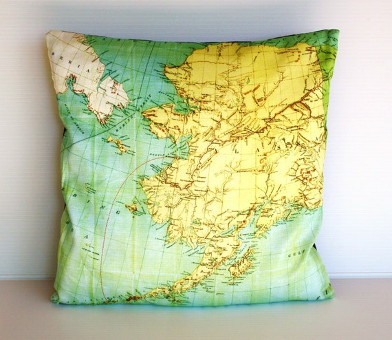 Cushion cover. Map pillow ALASKA Organic cotton map cushion, pillow, throw pillow cushion cover 16x16