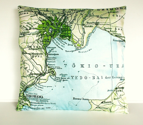 decorative cushion cover map pillow TOKYO cushion cover, map cushion, pillow, 16x16 pillow cover