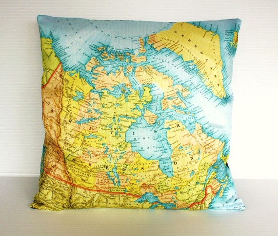 pillow cover, map cushion CANADA organic cotton cushion, map pillow, 16 inch pillow,16x16inch 40cm cushion cover