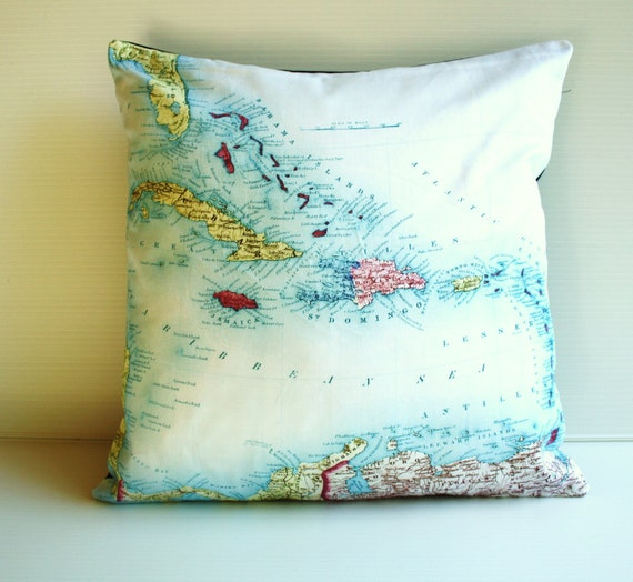 Vintage map cushion pillow, map cushion, CARIBBEAN organic cotton,pillow, cushion cover, 16x16, 40cm cushion, organic cotton.