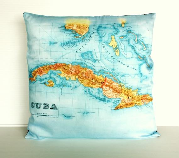 Vintage map pillow 16 inch cushion cover, CUBA map pillow, organic cotton, decorative cushion, throw pillow, 16x16 pillow