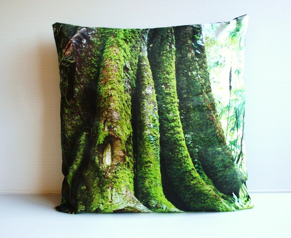 "decorative pillow cushion cover, throw pillow tree pillow MORTON BAY FIG tree organic cotton cushion cover, pillow, 16"", 41cms"