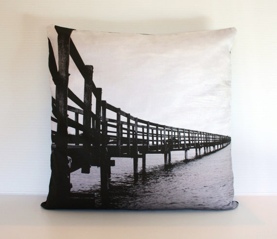 "throw cushion, BOARD WALK, photography, decorative pillow organic cotton cushion cover, pillow, 16"", 41cms"