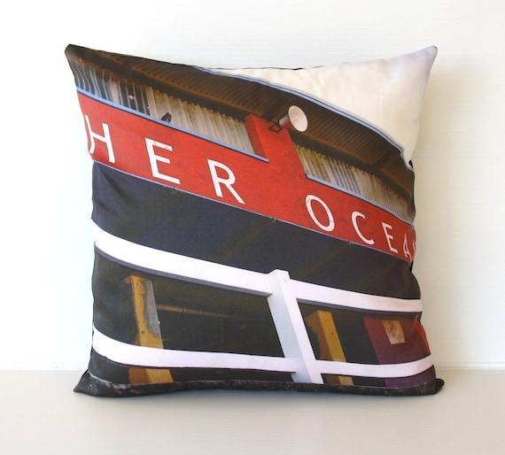 Cushion cover, decorative pillow, throw cushion MEREWETHER OCEAN baths, Newcastle, Australia - organic cotton cushion cover