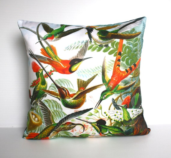 Ernst Haeckel fabric cushion/ HUMMINGBIRDS by Ernst Haeckel