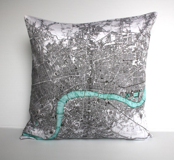 Vintage map print pillow,  LONDON Organic cotton map16 inch cushion cover, pillow, 16 inch, 41cm