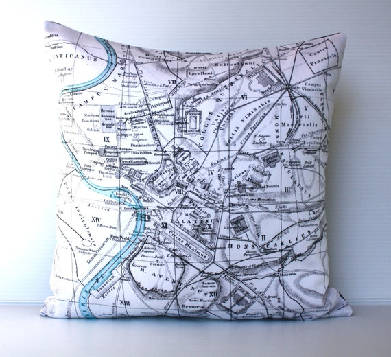 Cushion cover pillow ROME map pillow organic cotton pillow cushion, throw pillow, 16inch cushion cover