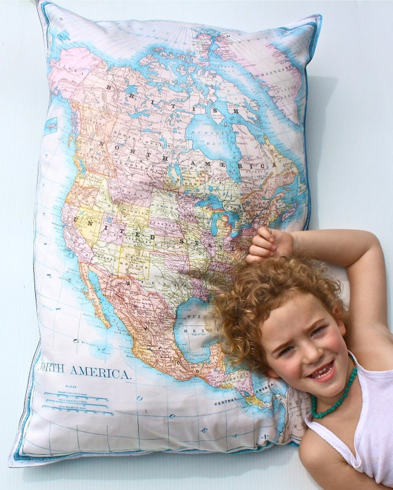 Floor cushion map floor cushion vintage NORTH AMERICA GIANT map cushion, organic cotton cushion, pillow cover, bean bag