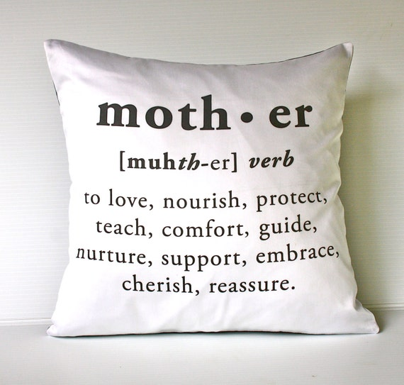 "16 x 16 inch MOTHER cushion decorative pillow  eco friendly organic cotton cushion cover, pillow, 16"", 41cms"