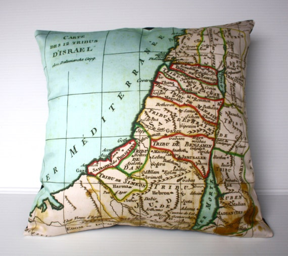 Cushion cover maps ISRAEL Organic cotton pillow cover, 16 inch, 41cm map pillow, map cushion, decorative pillow