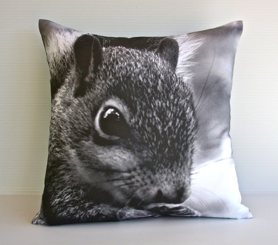 SQUIRREL animal cushion, animla theme,  organic cotton, monochrome kids decor 16 inch / 40cm