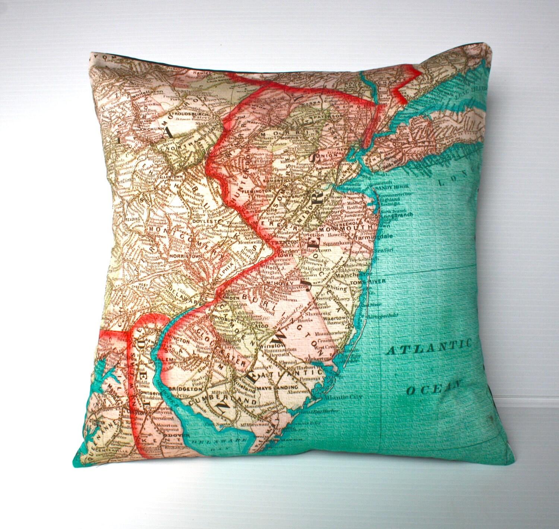 World Map Throw Rug: Decorative Throw Pillow NEW JERSEY Map Cushion Organic Cotton