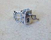 Lock and Key Ring, Silver Lock Ring, Silver Ring, lock and key, silver lock