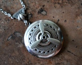 Steampunk Aviator Vintage Silver Locket Necklace EXCLUSIVE DESIGN Only by Enchanted Lockets