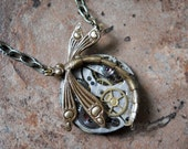 Steampunk Dragonfly Pendant-Vintage Watch Movement-Cogs and Gears-Pewter and Brass