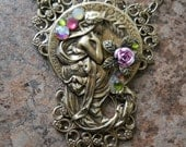"""Alphonse Mucha Antiqued Brass """"Poetry"""" Necklace"""