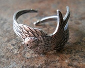 Enchanted Swooping Bird Ring in Silver