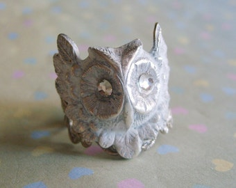 White Washed Owl Steampunk Ring EXCLUSIVE DESIGN-Shabby Chic