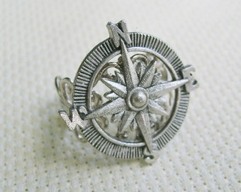 THE ORIGINAL Adventurer Steampunk Compass Ring in Silver