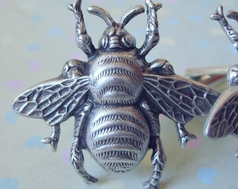 Queen Bee Steampunk Cuff Links in Antiqued Silver