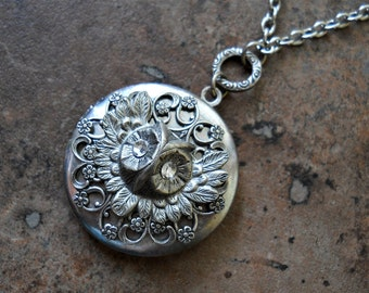 Feathered Silver Owl Locket With Swarovski Crystals EXCLUSIVE DESIGN Only by Enchanted Lockets