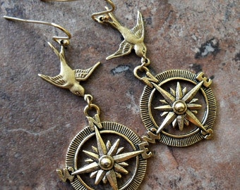 Adventurer Compass Steampunk Earrings in Brass Exclusive Design only by Enchanted Lockets