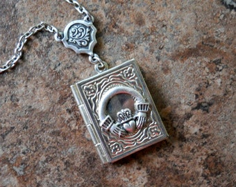 Claddagh Irish Wedding Book Locket Exclusive Design by Enchanted Lockets