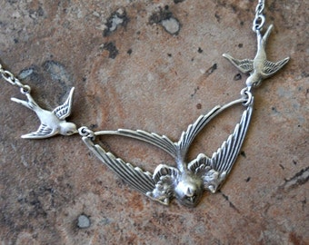 Swooping Soaring  Barn Swallows Sterling Silver Plated Necklace