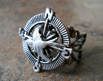 Adventurer Steampunk Compass Ring with Sparrow  in Silver Exclusive only by Enchanted Lockets