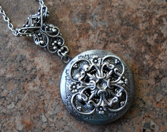 Neo-Victorian Floral Filigree Locket- EXCLUSIVE DESIGN Only by Enchanted Lockets