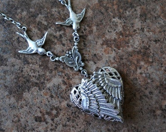 Folded Guardian Angel Wings Heart Locket Exclusive Design by Enchanted Lockets