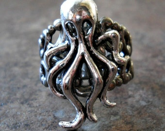 Squid Ring, silver squid, silver ring, silver squid ring, octopus, octopus ring, silver octopus