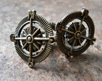 THE ORIGINAL Adventurer Compass Cuff Links in Brass