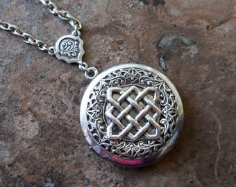 NEW  Diamond Celtic Knot  Antiqued Silver Enchanted Irish Locket